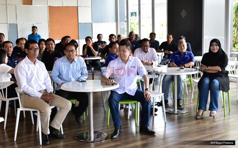 Suasana acara makan siang bersama Chairman & CEO MNC Group Hary Tanoesoedibjo dengan redaksi MNC Media di Gedung Financial Center, Kebon sirih, Jakarta Pusat, Kamis (20/4/2017).
