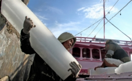 Seorang nelayan mengangkut es balok ke atas kapal di Pelabuhan Rakyat Kasiwa, Mamuju, Sulawesi Barat, Kamis (20/4/2017). Pada musim ikan seperti saat ini kebutuhan es balok untuk pengawet ikan hasil tangkapan di laut meningkat dibandingkan hari sebelumnya, dan es dijual seharga Rp23.000 per balok.