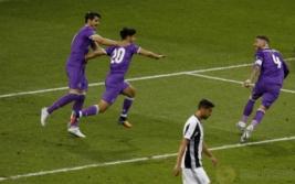 Marco Asensio saat mencetak gol keempat bagi Real Madrid pada pertandingan final liga Champions di Stadium of Wales, Minggu (4/6/2017). Menang 4-1 Real Madrid sukses menjuarai liga Champions 2017.Reuters / Phil Noble