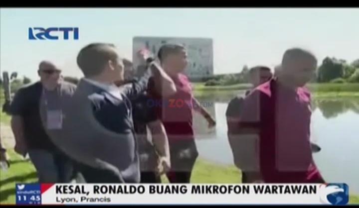 Kesal, Ronaldo Buang Mikrofon Wartawan ke Danau