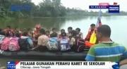 Banjir Cilacap, Pelajar Gunakan Perahu Karet ke Sekolah
