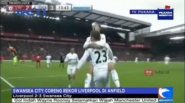 Swansea City Taklukan Liverpool dengan Skor 3-2